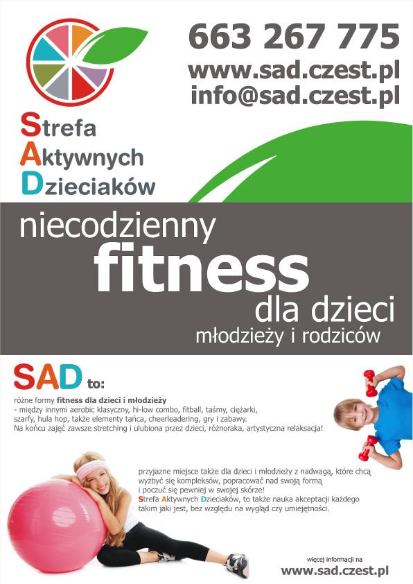 niecodzienny fitnes dla dzieci - plakat